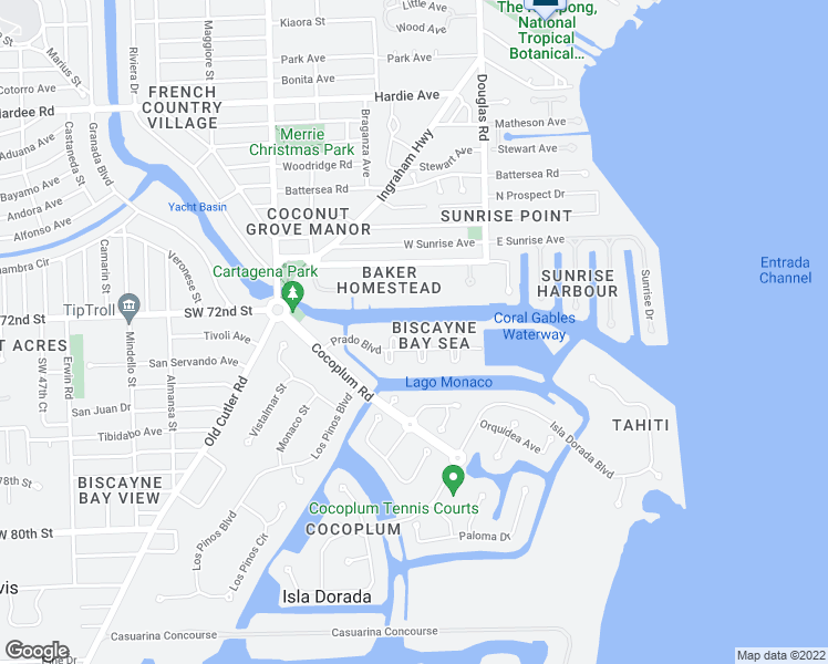 map of restaurants, bars, coffee shops, grocery stores, and more near 282 Carabela Court in Coral Gables