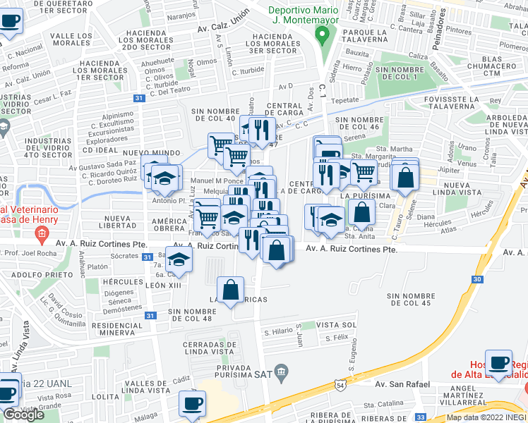 map of restaurants, bars, coffee shops, grocery stores, and more near 119 Avenida Bonifacio Salinas Norte in Guadalupe