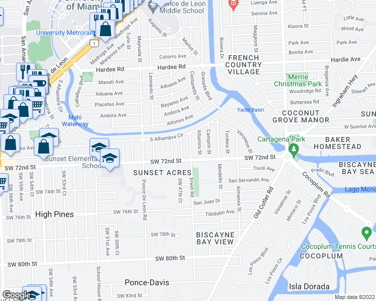 map of restaurants, bars, coffee shops, grocery stores, and more near 6910 Barquera Street in Coral Gables