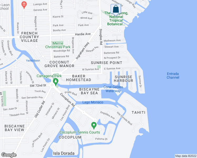 map of restaurants, bars, coffee shops, grocery stores, and more near 10 Edgewater Drive in Coral Gables