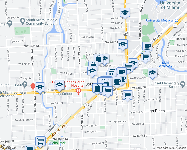 map of restaurants, bars, coffee shops, grocery stores, and more near 6001 Southwest 70th Street in South Miami