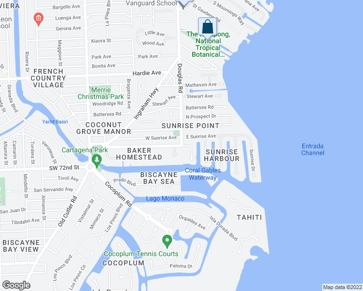 map of restaurants, bars, coffee shops, grocery stores, and more near S Douglas Rd & Edgewater Dr in Coral Gables