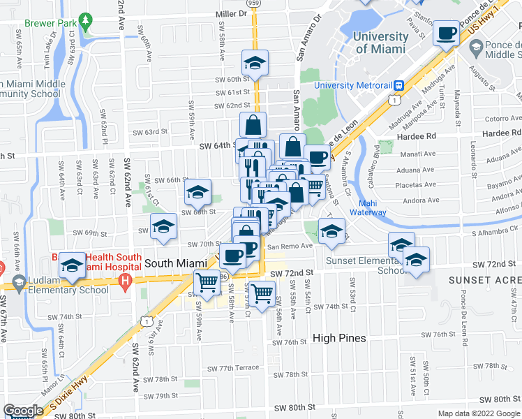 map of restaurants, bars, coffee shops, grocery stores, and more near 6790 Southwest 57th Avenue in South Miami