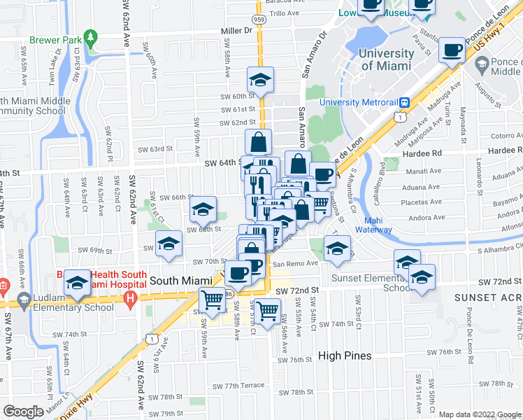 map of restaurants, bars, coffee shops, grocery stores, and more near 6620 Southwest 57th Avenue in South Miami