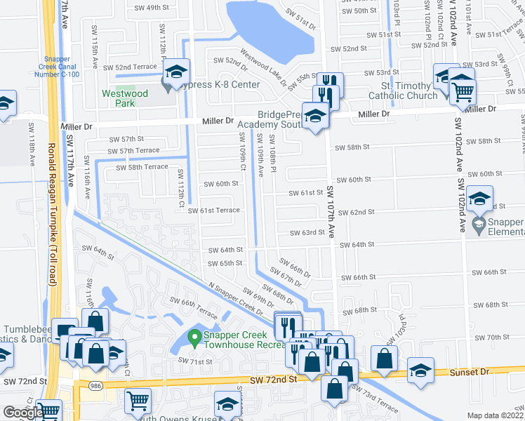 map of restaurants, bars, coffee shops, grocery stores, and more near Southwest 109th Avenue in Miami