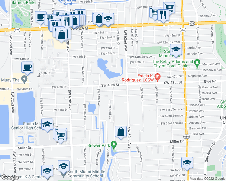 map of restaurants, bars, coffee shops, grocery stores, and more near SW 49th St in Miami