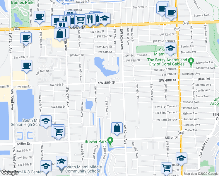 map of restaurants, bars, coffee shops, grocery stores, and more near Southwest 49th Street in Miami