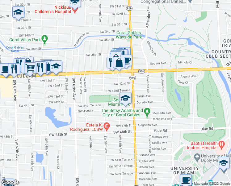 map of restaurants, bars, coffee shops, grocery stores, and more near 5814 SW 42nd Terrace in Miami