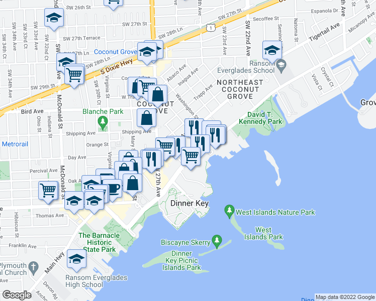 map of restaurants, bars, coffee shops, grocery stores, and more near 2627 South Bayshore Drive in Miami