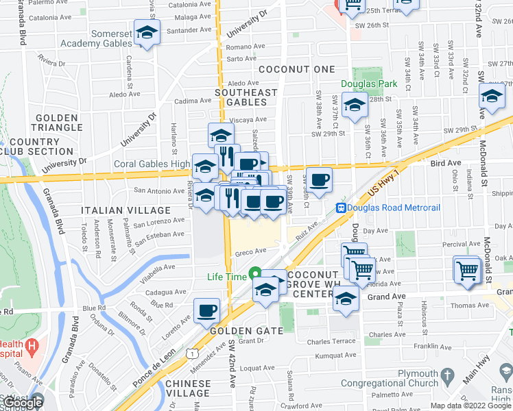 map of restaurants, bars, coffee shops, grocery stores, and more near 4251 Salzedo Street in Coral Gables