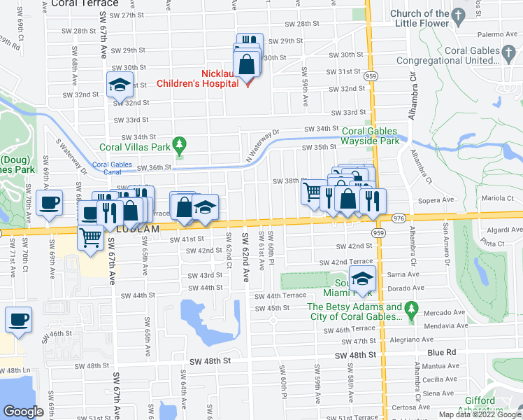 map of restaurants, bars, coffee shops, grocery stores, and more near 3945 Southwest 61st Avenue in Miami