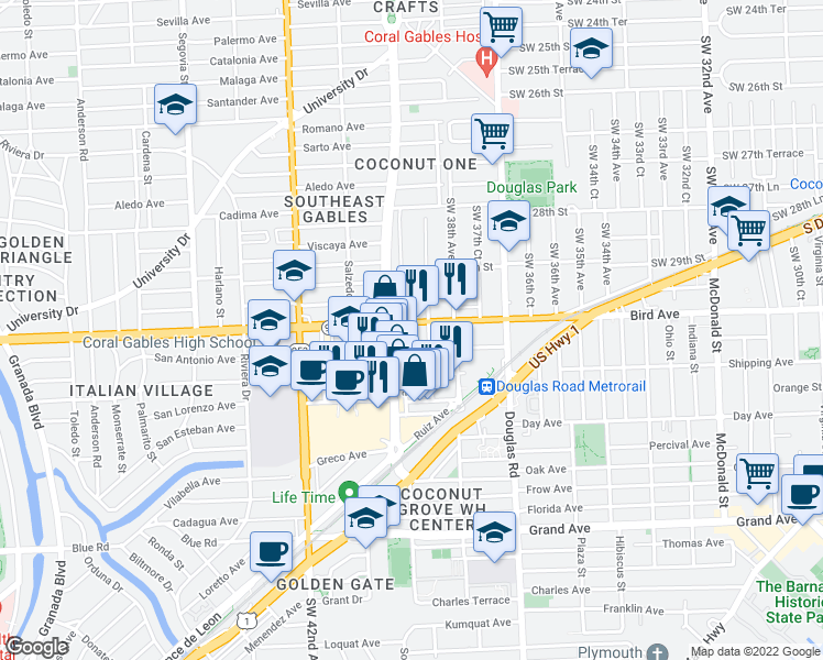map of restaurants, bars, coffee shops, grocery stores, and more near 3880 Bird Road in Miami