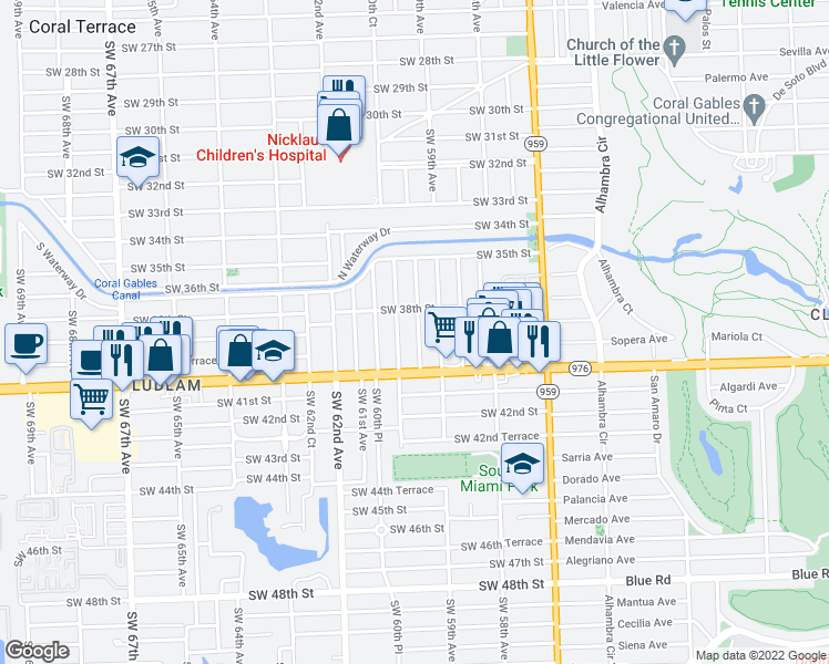 map of restaurants, bars, coffee shops, grocery stores, and more near 3900 Southwest 60th Avenue in Miami