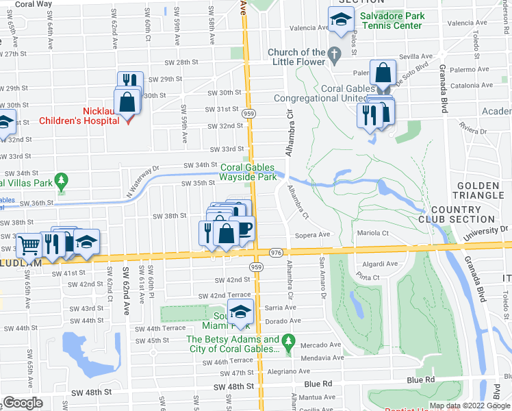 map of restaurants, bars, coffee shops, grocery stores, and more near 1569 Alcala Avenue in Coral Gables