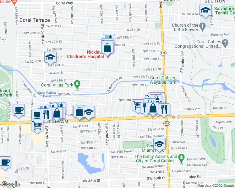 map of restaurants, bars, coffee shops, grocery stores, and more near Southwest 60th Place in Miami