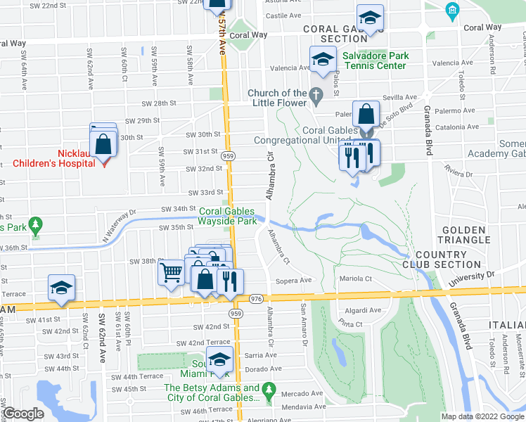 map of restaurants, bars, coffee shops, grocery stores, and more near 3430 Alhambra Circle in Coral Gables
