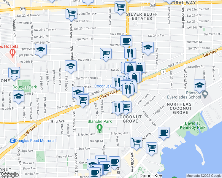 map of restaurants, bars, coffee shops, grocery stores, and more near 2900 Southwest 28th Lane in Miami