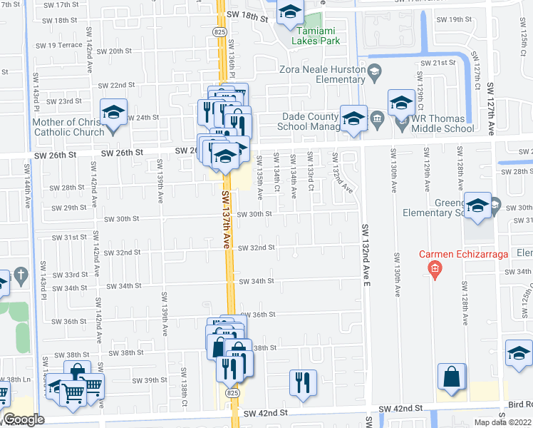 map of restaurants, bars, coffee shops, grocery stores, and more near Southwest 30th Street in Miami