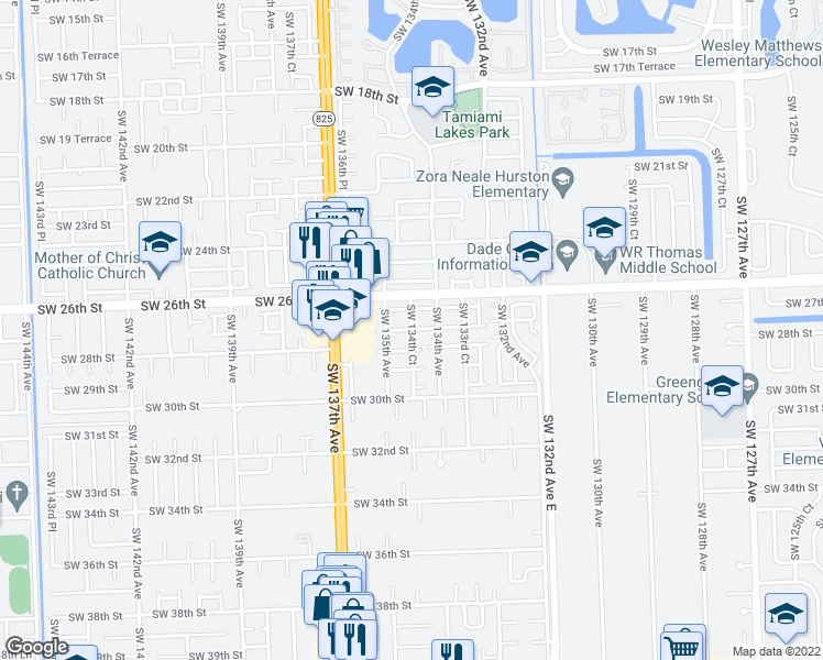 map of restaurants, bars, coffee shops, grocery stores, and more near Southwest 134th Court in Miami