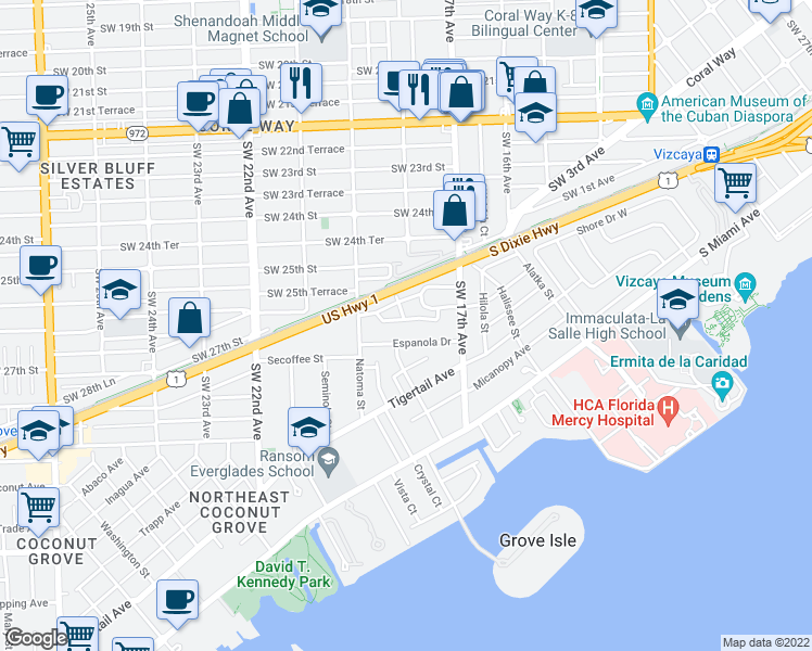 map of restaurants, bars, coffee shops, grocery stores, and more near 1805 Espanola Drive in Miami