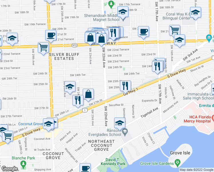 map of restaurants, bars, coffee shops, grocery stores, and more near 2195 Southwest 25th Terrace in Miami