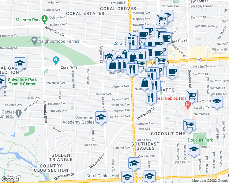 map of restaurants, bars, coffee shops, grocery stores, and more near 507 Sevilla Avenue in Coral Gables