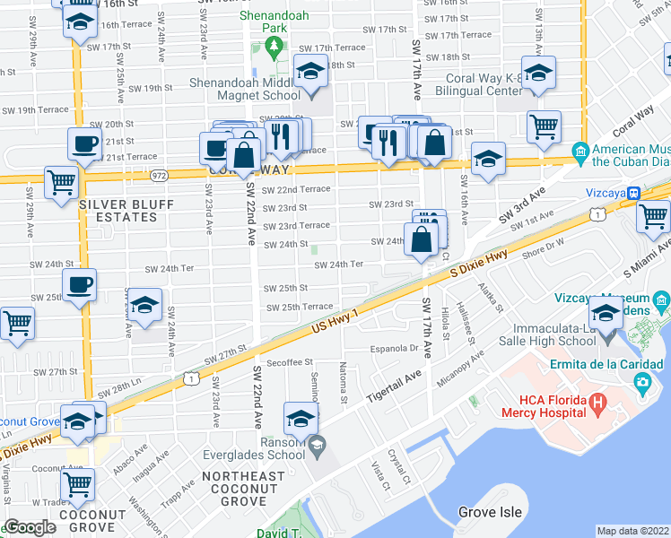 map of restaurants, bars, coffee shops, grocery stores, and more near 1900 Southwest 24th Terrace in Miami
