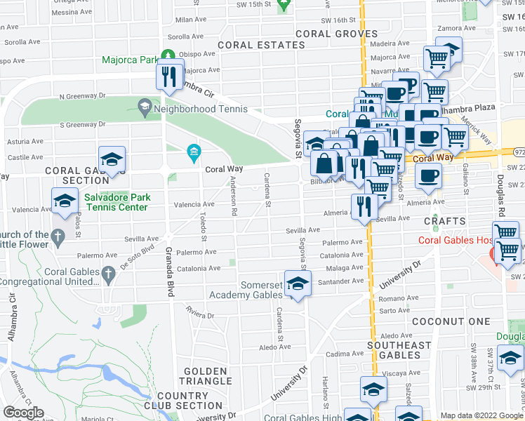 map of restaurants, bars, coffee shops, grocery stores, and more near 2600 Cardena Street in Coral Gables