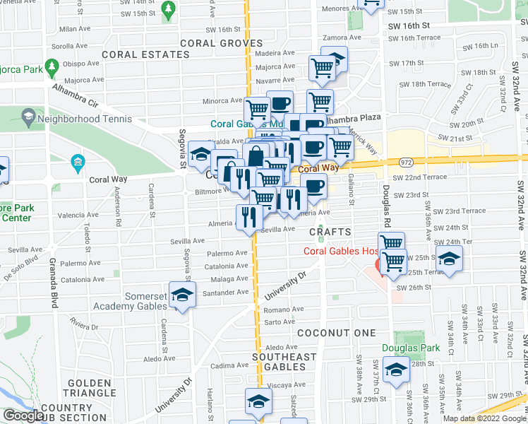 map of restaurants, bars, coffee shops, grocery stores, and more near 357 Almeria Avenue in Coral Gables