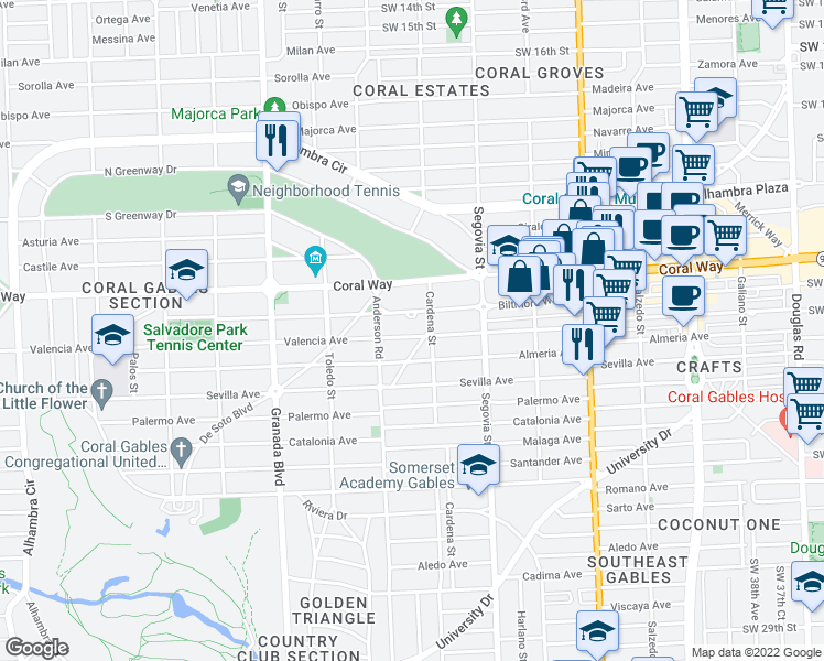 map of restaurants, bars, coffee shops, grocery stores, and more near 717 Valencia Ave in Coral Gables