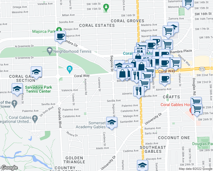 map of restaurants, bars, coffee shops, grocery stores, and more near 600 Biltmore Way in Coral Gables