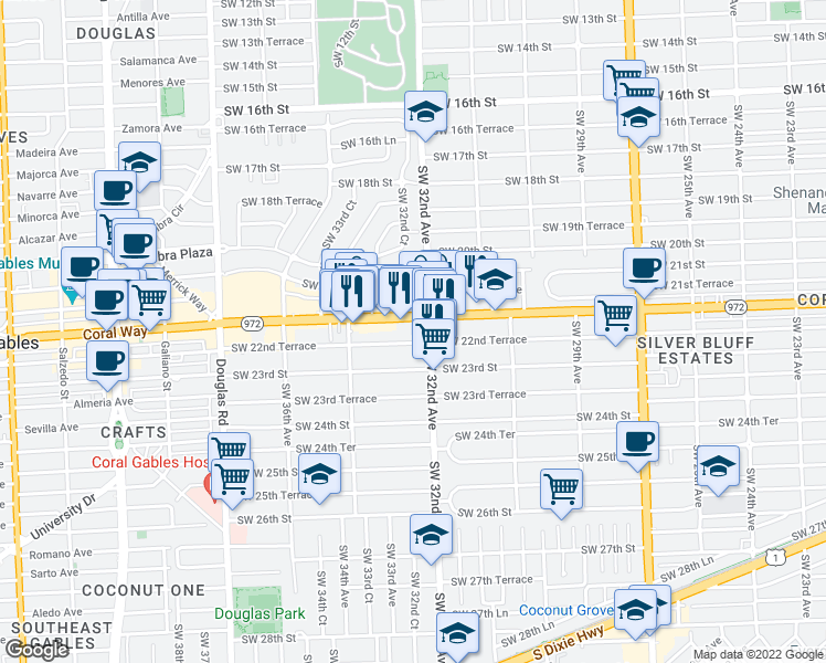 map of restaurants, bars, coffee shops, grocery stores, and more near 3232 Coral Way in Coral Gables