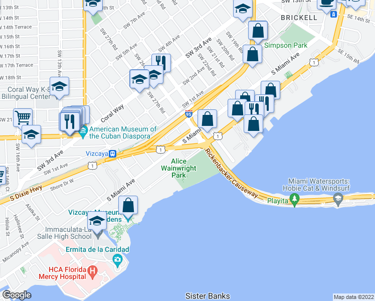 map of restaurants, bars, coffee shops, grocery stores, and more near 2745 Brickell Court in Miami