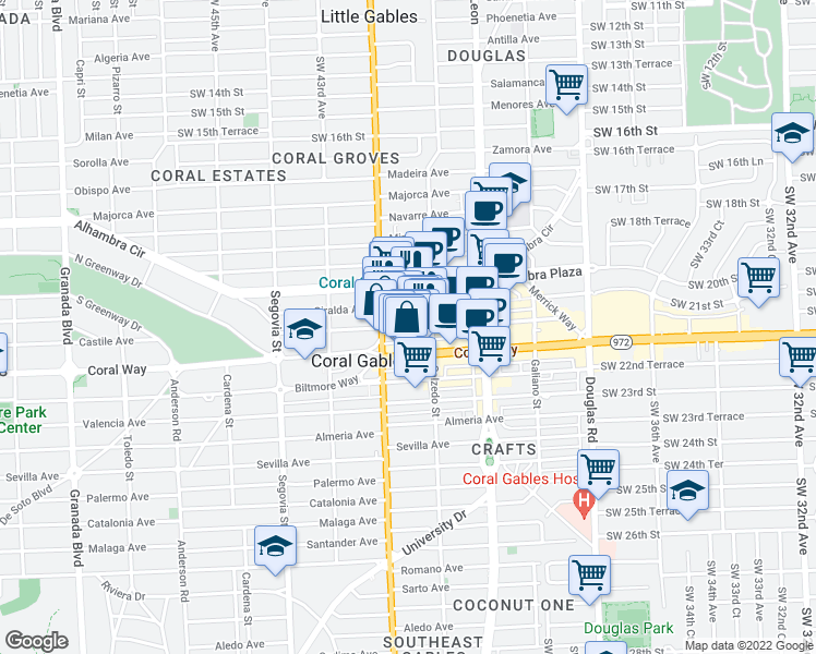 map of restaurants, bars, coffee shops, grocery stores, and more near 353 Aragon Avenue in Coral Gables