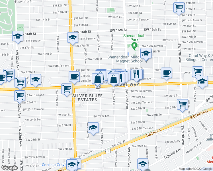 map of restaurants, bars, coffee shops, grocery stores, and more near Southwest 22nd Street in Miami