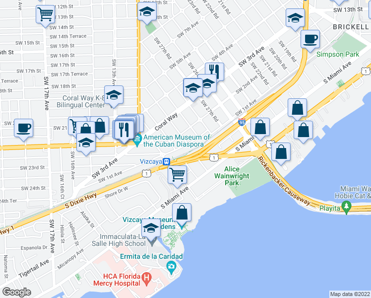 map of restaurants, bars, coffee shops, grocery stores, and more near Ave in Miami