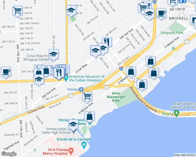 map of restaurants, bars, coffee shops, grocery stores, and more near 2915 Southwest 1st Avenue in Miami