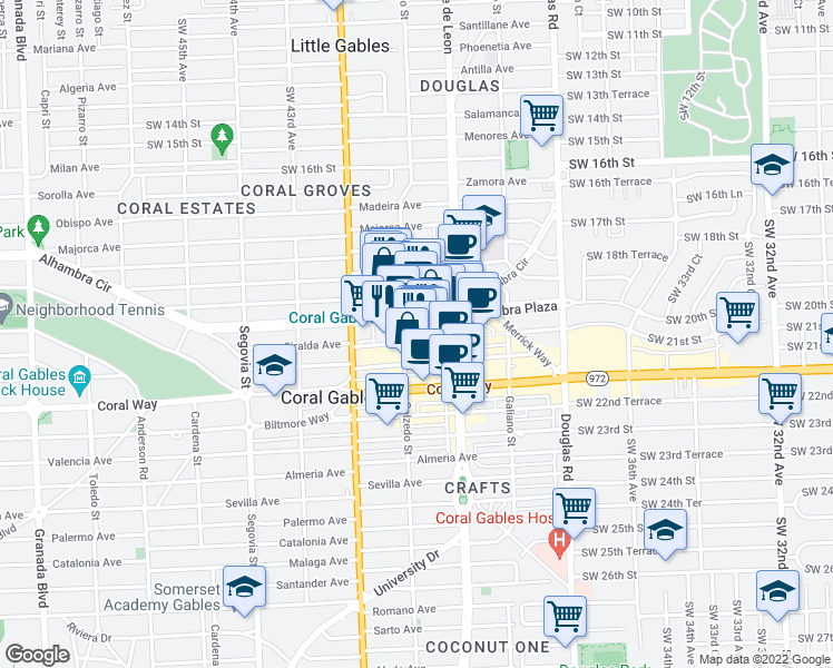 map of restaurants, bars, coffee shops, grocery stores, and more near 275 Giralda Avenue in Coral Gables