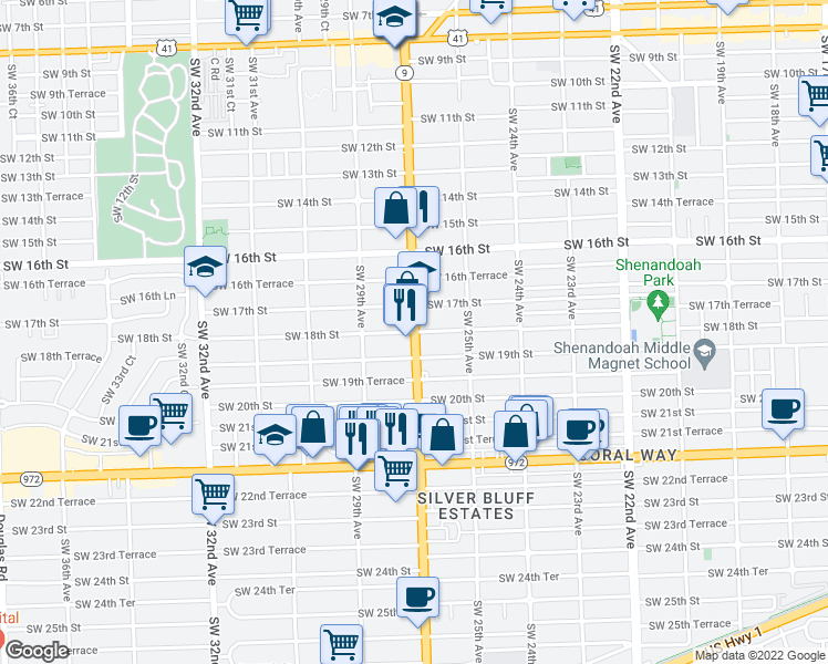 map of restaurants, bars, coffee shops, grocery stores, and more near SW 27th Ave & SW 18th St in Miami