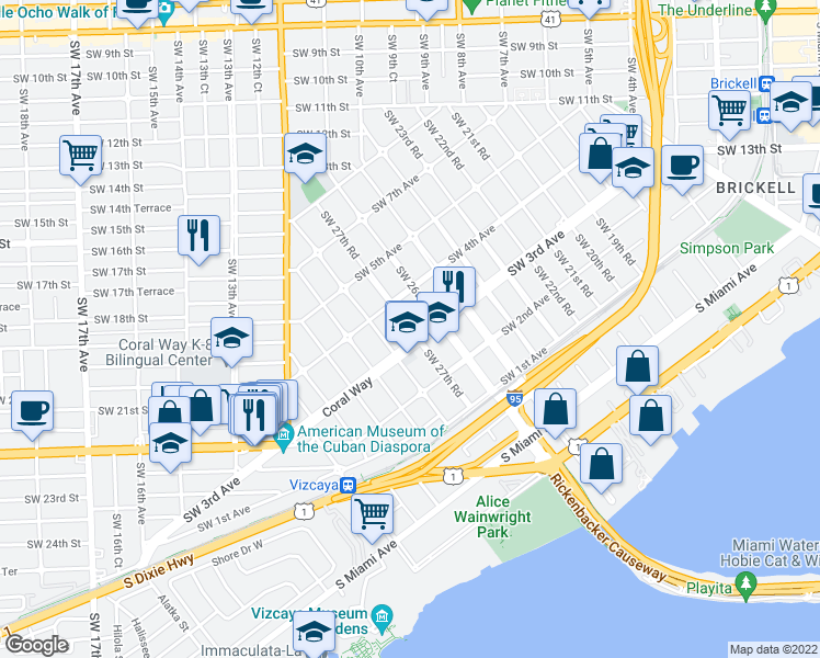 map of restaurants, bars, coffee shops, grocery stores, and more near 2700 Southwest 3rd Avenue in Miami