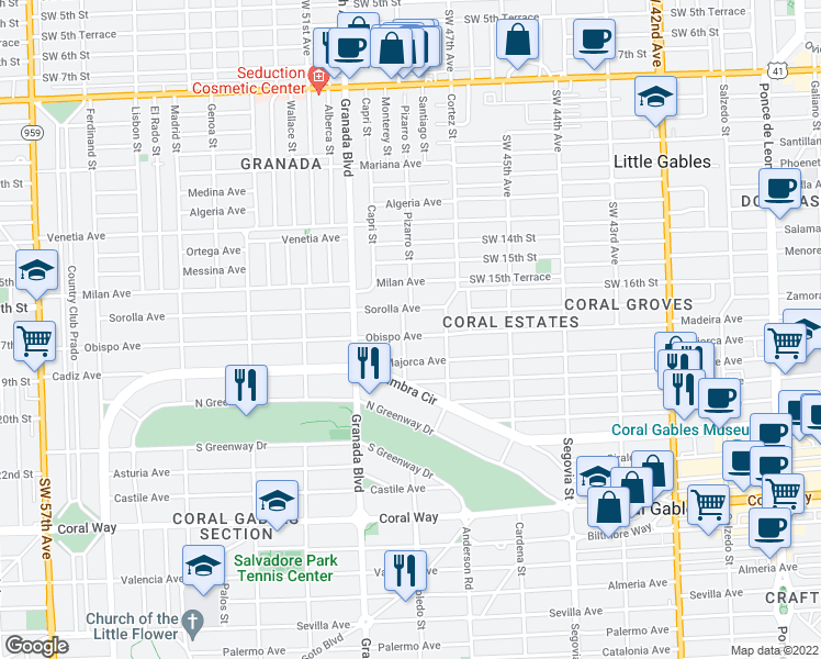 map of restaurants, bars, coffee shops, grocery stores, and more near 833 Obispo Avenue in Coral Gables