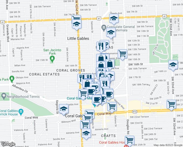 Coral Gables Map Florida.Salzedo St Madeira Ave Coral Gables Fl Walk Score
