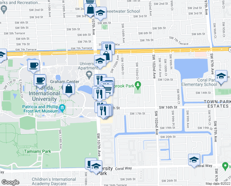 map of restaurants, bars, coffee shops, grocery stores, and more near 10495 Southwest 14th Terrace in Miami