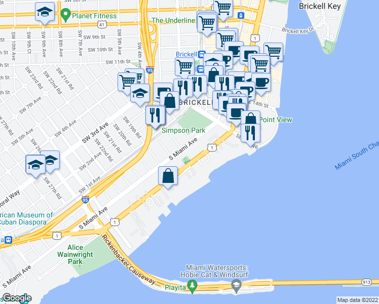 map of restaurants, bars, coffee shops, grocery stores, and more near 1650 Brickell Avenue in Miami