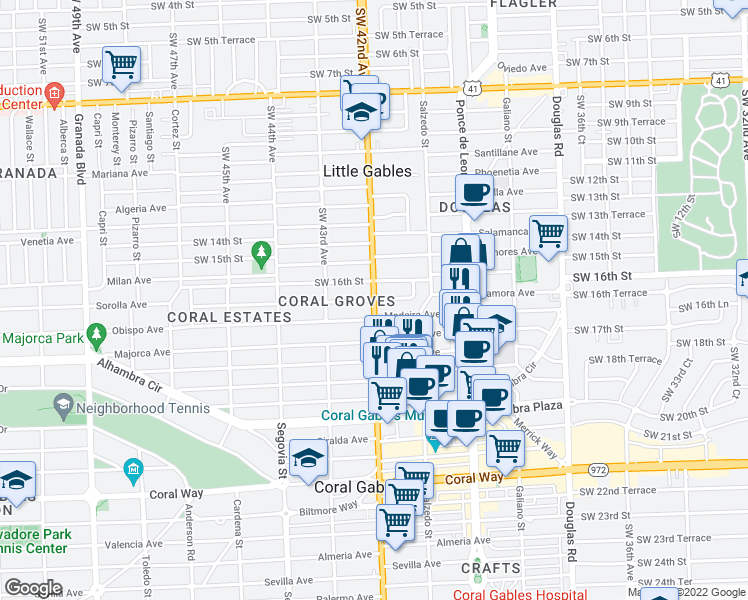 map of restaurants, bars, coffee shops, grocery stores, and more near Zamora Avenue in Coral Gables