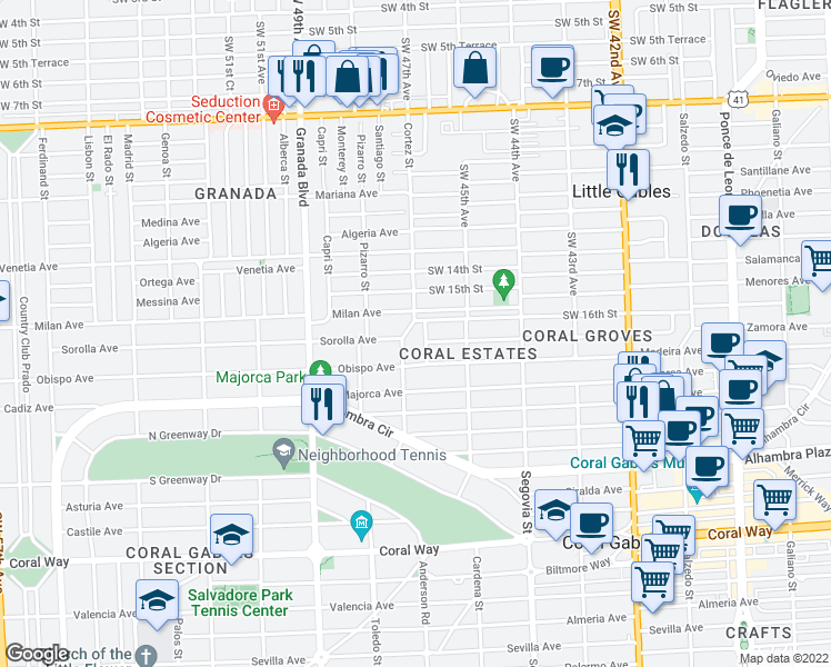 map of restaurants, bars, coffee shops, grocery stores, and more near in Coral Gables
