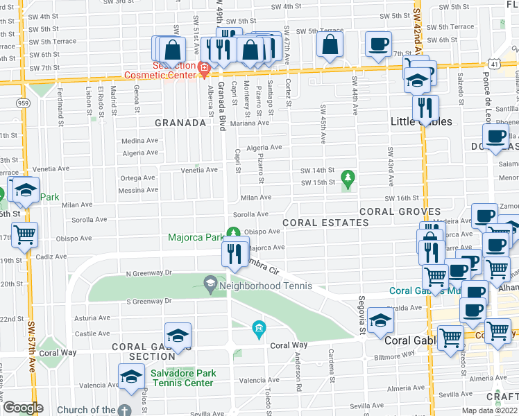 map of restaurants, bars, coffee shops, grocery stores, and more near 821 Sorolla Avenue in Coral Gables