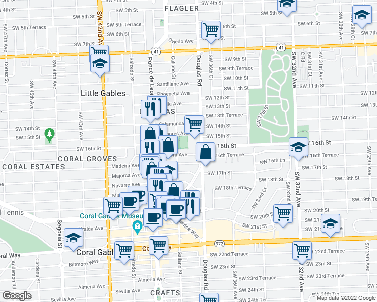 map of restaurants, bars, coffee shops, grocery stores, and more near 28 Zamora Avenue in Coral Gables