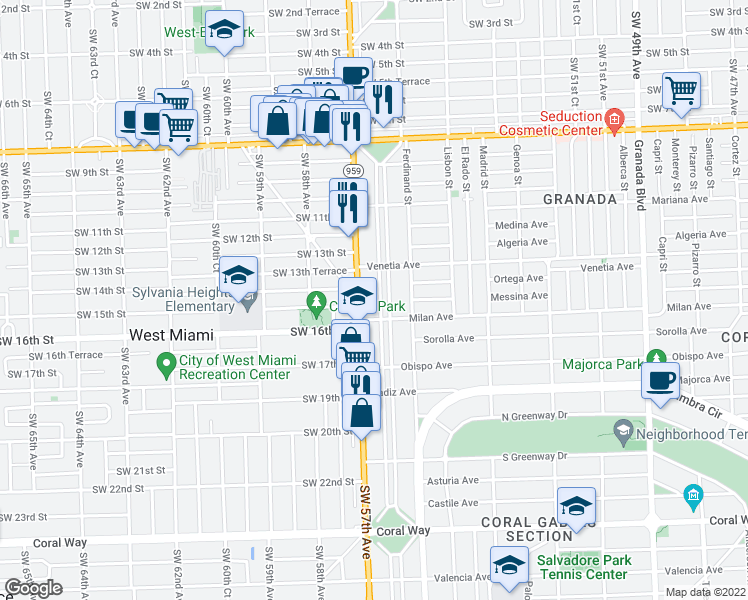 map of restaurants, bars, coffee shops, grocery stores, and more near 1420 Country Club Prado in Coral Gables