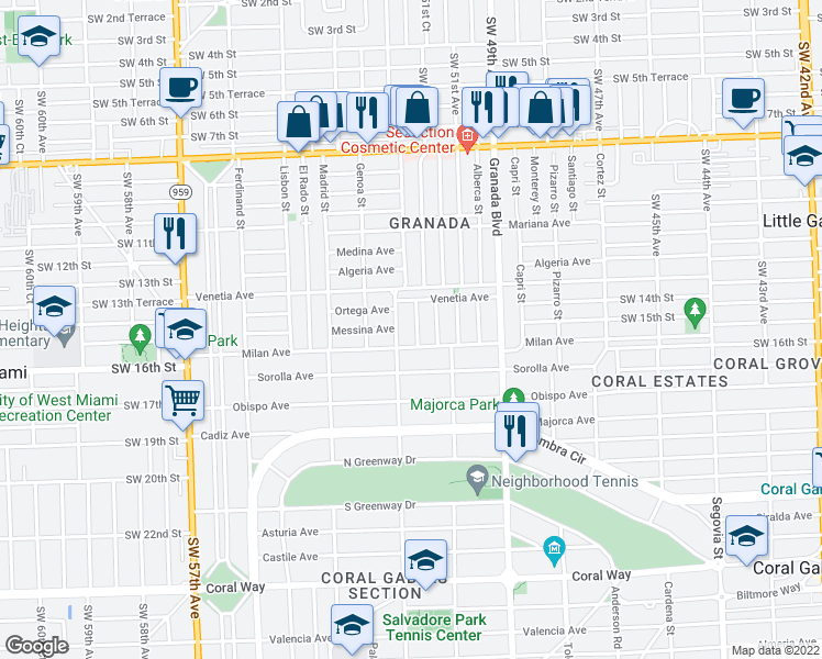 map of restaurants, bars, coffee shops, grocery stores, and more near 1502 Tangier Street in Coral Gables
